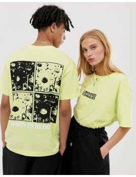 Crooked Tongues   T Shirt Oversize Unisexe Avec Imprimé Quadrillage Fluo Au Dos by Crooked Tongues