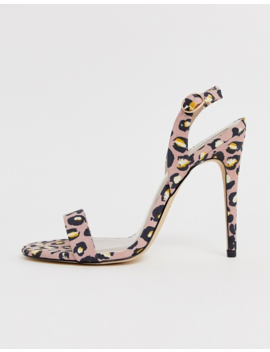 Qupid Slingback Barely There Heeled Sandals In Leopard by Heels