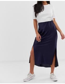 Asos Design Petite Bias Cut Satin Midi Skirt With Splits by Asos Design