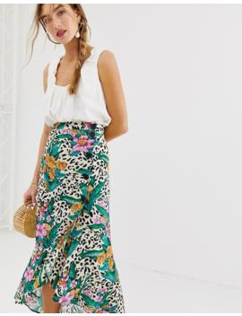 Asos Design Wrap Button Up Midi Skirt In Tropical Animal Print by Asos Design