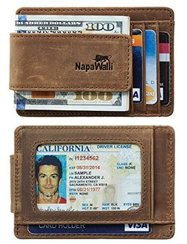 Napa Walli Genuine Leather Magnetic Front Pocket Money Clip Wallet Rfid Blocking by Napa Walli