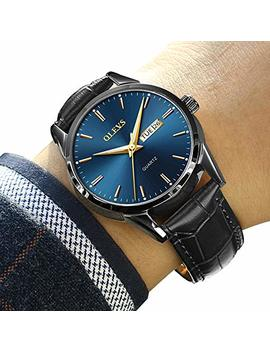 Amazon Watch, Men's Top 1 Watch,Men's Weekender&Calendar Black/Brown Strap,Mens Watches,Classic Casual Watch With Black/Blue/White Dial,Waterproof 30 M by Olevs