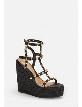 Black Dome Stud Wedges by Missguided