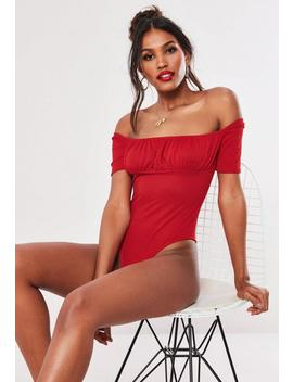 Red Gathered Front Short Sleeve Milkmaid Bodysuit by Missguided