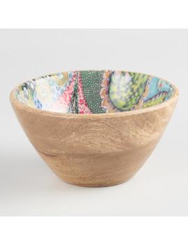 Small Multicolor Enamel Wood Janice Bowl by World Market