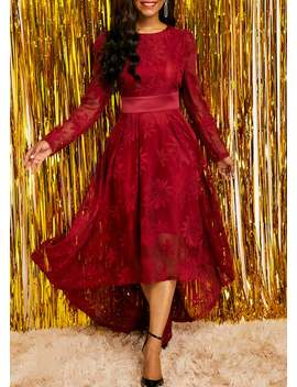d7ef95250fc Wine Red Band Waist Long Sleeve Lace Dress by Rose We