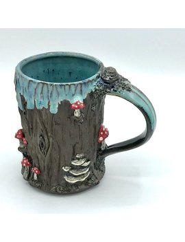 Handmade Mushroom And Tree Bark Coffee Mug Stoneware Wheel Thrown by Etsy