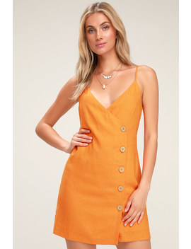 Billie Orange Button Front Mini Wrap Dress by Lulus X Lush