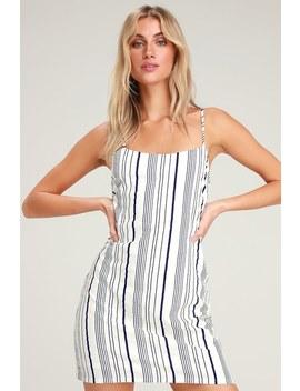 Honey Sweet Navy Blue Striped Mini Dress by Lulus