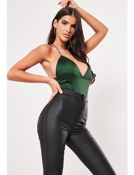 Green Basic Satin Cross Back Bodysuit by Missguided