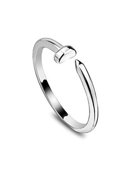 Dwcly New Unique Women Men's Wrapped Bent Nail Ring Twisted Modern Nail Finger Ring by Dwcly