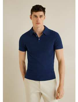 Textured Knit Cotton Polo by Mango