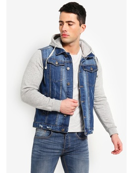 2ee311e94f9 Blue Wash Denim Jacket With Contrast Grey Jersey Hood by Brave Soul
