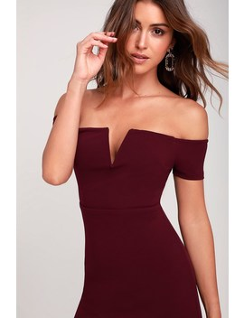 Cheers To This Burgundy Off The Shoulder Bodycon Dress by Lulus