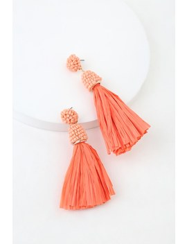 Xenia Coral Pink Beaded Rafia Earrings by Lulus