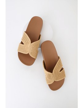 Marguerite Natural Woven Slide Sandals by Lulu's