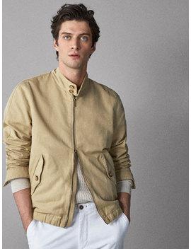 Linen/Cotton Bomber Jacket by Massimo Dutti