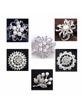 Xixihaha Rhinestone Crystal Flower Brooches Pins For Diy Weeding Bridal Bouquet Brooches Pack Of 6 by Xixihaha