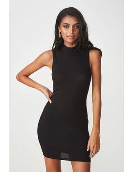 Layla Rib High Neck Mini Dress by Cotton On