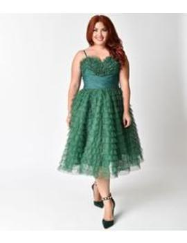 d44ffc599fc7 Shoptagr | Unique Vintage Plus Size 1950s Emerald Green Ruffled ...