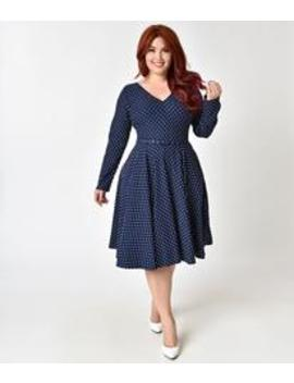 Unique Vintage Plus Size 1950s Navy & White Dotted Long Sleeve Maude Swing  Dress