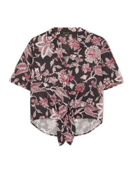 Neel Tie Front Floral Print Cotton Shirt by Isabel Marant