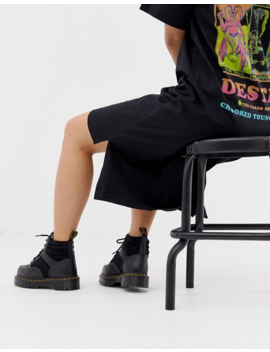 Dr Martens Zuma Flat Chunky Leather Boots In Black by Dr Martens