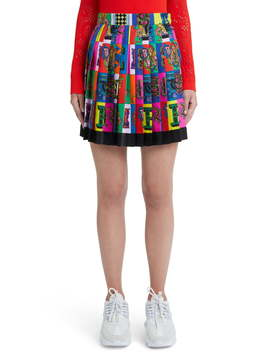 Alphabet Print Pleated Silk Skirt by Versace