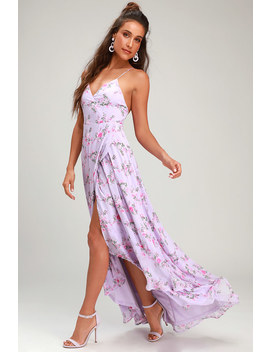 In Love Forever Lavender Floral Lace Up High Low Maxi Dress by Lulus