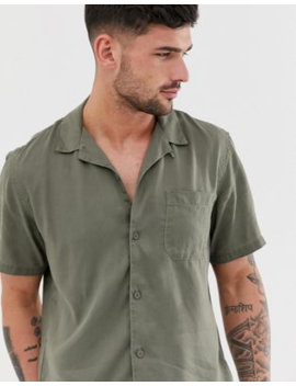 Pull&Amp;Bear Join Life Shirt With Revere Collar In Khaki by Pull&Bear
