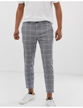 Bershka Skinny Check Pants In Blue by Bershka