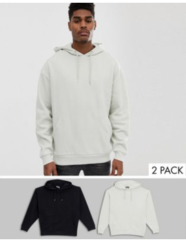 Asos Design Oversized Hoodie 2 Pack Light Gray/Black by Asos Design