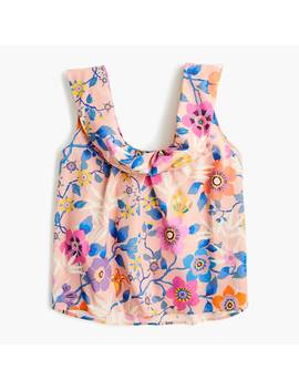 Sleeveless Scoopneck Top With Foldover Neckline In Liberty® Pavilion Pink Floral by Sleeveless Scoopneck Top With Foldover Neckline In Liberty
