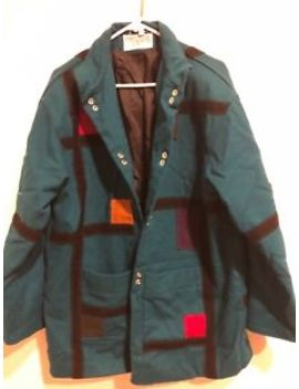 International Scene Pure New Wool Women's Coat Size 9/10 Green W/Color Patches by International Scene