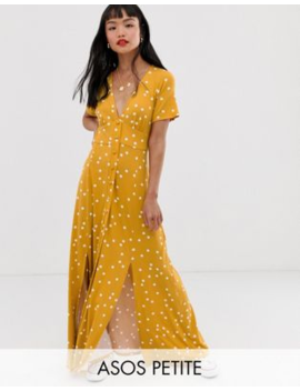 Asos Design Petite Button Through Maxi Tea Dress With Splits In Spot Print by Asos Design