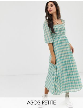 Asos Design Petite Shirred Pleated Midi Dress In Gingham Print by Asos Design