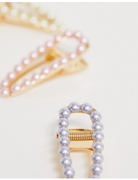 Asos Design Pack Of 3 Hair Clips With Pastel Pearls In Gold Tone by Asos Design