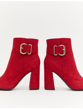 New Look Buckle Detail Heeled Boot In Red by New Look