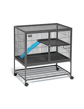 """Midwest Deluxe Ferret Nation Single Unit Ferret Cage (Model 181) Includes 1 Leak Proof Pans, 1 Shelf, 1 Ramps W/Ramp Cover & 4 Locking Wheel Casters, Measures 36"""" L X 25"""" W X 38.5"""" H Inches by Mid West Homes For Pets"""