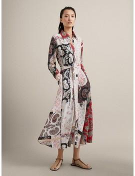 Kleid Mit Paisleyprint Und GÜrtel by Massimo Dutti