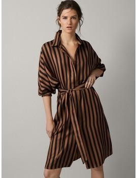 Gestreiftes Kleid Mit Schleife by Massimo Dutti