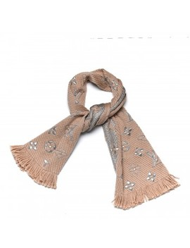 Louis Vuitton Wool Silk Logomania Shine Scarf Beige by Louis Vuitton