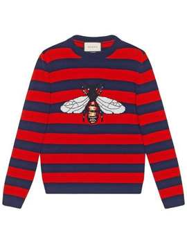 Striped Wool Sweater With Bee by Gucci