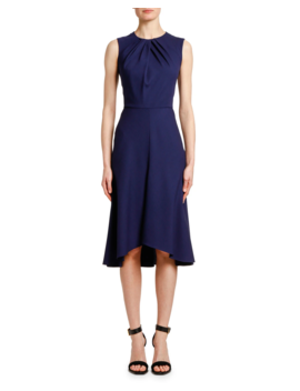 Pintucked Neck Wool Crepe Cocktail Dress by Alexander Mc Queen