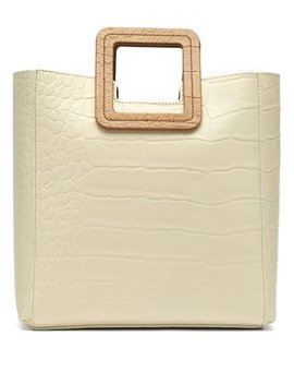 Shirley Crocodile Effect Leather Tote Bag by Staud
