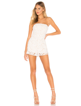 X Revolve Kelli Strapless Lace Romper by Superdown