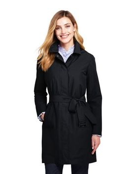 Women's Petite Hooded Waterproof Long Raincoat by Lands' End