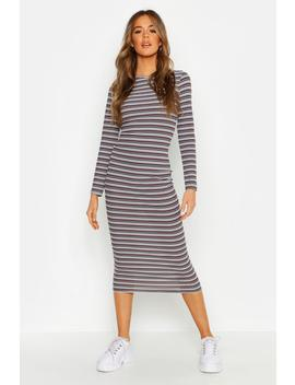 Stripe Ribbed Long Sleeve Midaxi Dress by Boohoo