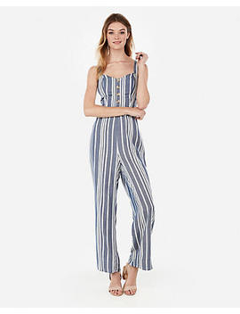 Striped Button Front Cut Out Tie Back Jumpsuit by Express