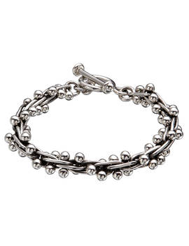 Andea Sterling Silver Beaded Multi Link Bracelet, Silver by Andea